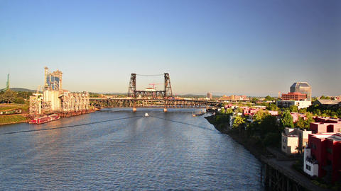 Steel Bridge and Willamette River Footage