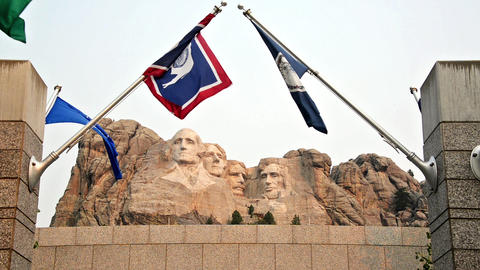 Mount Rushmore and Flags Footage
