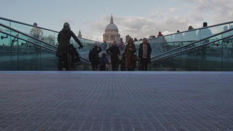 Millenium Bridge people walking Footage