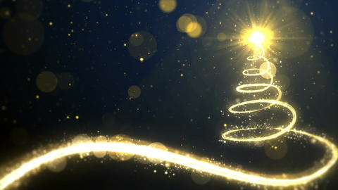 Christmas golden lights tree Animation