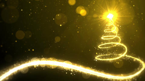 Christmas tree lights on gold background with copy space for text placeholder Animation