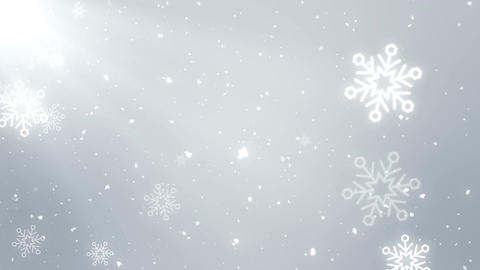 White snowflakes, bokeh and shiny lights on white background (Christmas theme) Animation