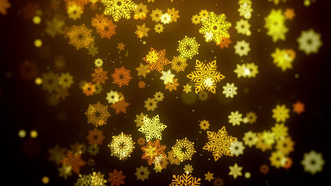 Christmas animation background with snowflakes falling in stylish (gold theme) Animation