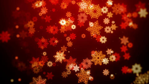 Christmas animation background (red theme) with snowflakes falling in stylish Animation