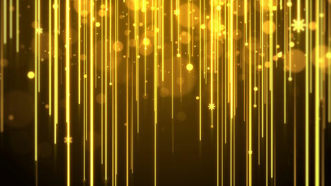 Christmas background with lights streak , bokeh glittering and snowflakes (gold Animation