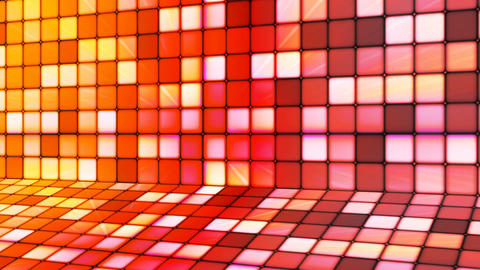 Broadcast Twinkling Hi-Tech Cubes Stage, Orange Red, Abstract, Loopable, 4K Animation