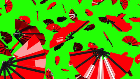 Red Fans On Green Chroma Key CG動画