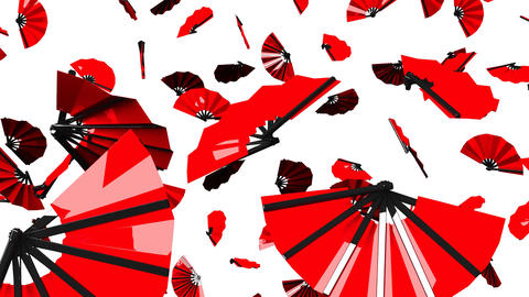 Red Fans On White Background CG動画
