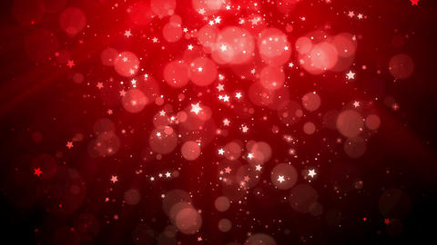 Christmas background with star falling and shine lights (red theme), looped Animation