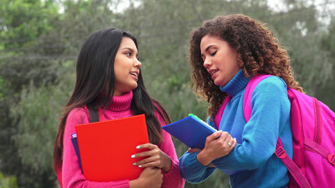 Friends Hispanic Girl Students Live Action