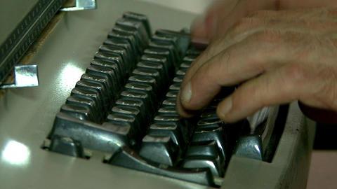 Writing in old typewriter Footage