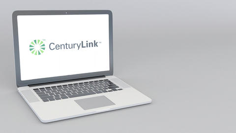 Opening and closing laptop with CenturyLink logo. 4K editorial animation Footage