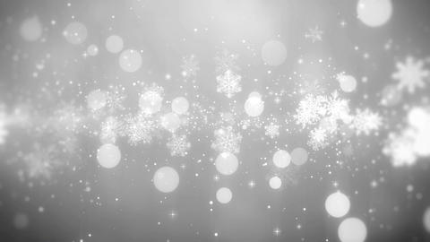 Christmas background with snowflake lights in elegant (white theme), looped Animation