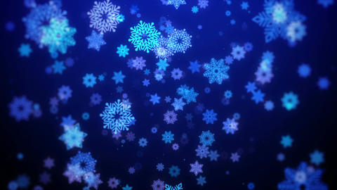 Christmas background (blue theme) with snowflakes in elegant, looped Animation