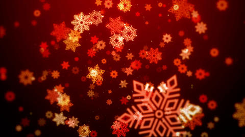 Christmas background (red theme) with snowflakes in stylish, looped Animation