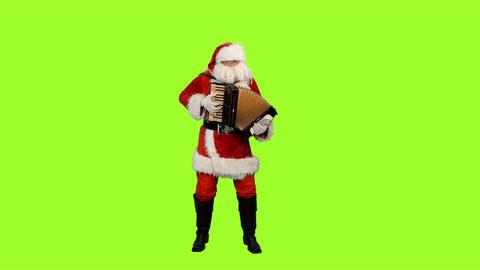 Santa Claus playing accordion on green screen background, Chroma key Image