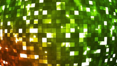 Broadcast Firey Light Hi-Tech Squares Globe, Green, Abstract, Loopable, 4K Animation