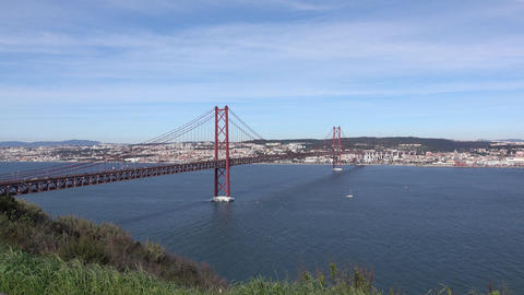 Panoramic View on the 25 de Abril Bridge in Lisbon Footage