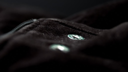 Black Jacket, Button And Zip Close Up HD Stock Footage stock footage