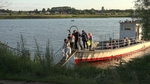 Tver, Russia - 05 July 2015 - River taxi pick up people to the other side of the Footage