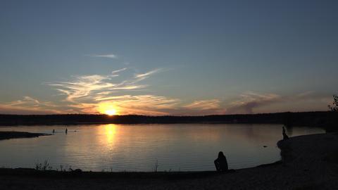 Sunset on the pond Footage