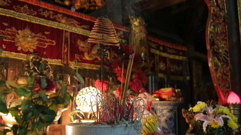 Incense Sticks In Buddhist Temple Footage