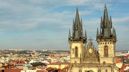 city (Prague) - urban buildings - roofs of buildings - sunny - Church of Tyn Footage