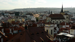 panorama of city (Prague) - urban buildings - roofs of buildings - sunny Footage