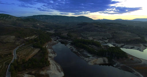 4K Aerial, Flight into dawn at a barrier lake, Andalusia, Spain Footage