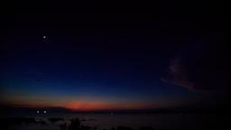 Getting Dark after Sunset Star over Sea LIghts on Horizon Footage