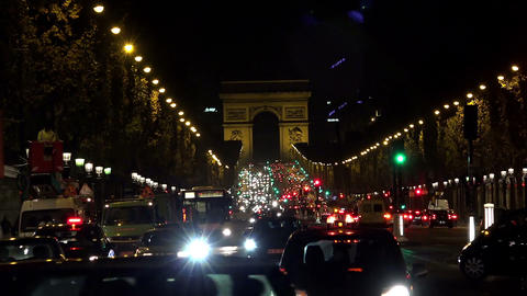 Arc de Triomphe in Paris. Night. France Footage