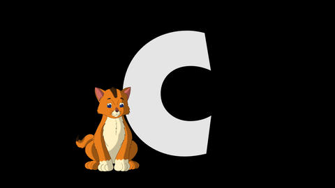 Letter C and Cat (foreground) Animation