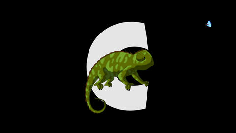 Letter C and Chameleon (foreground) Animation
