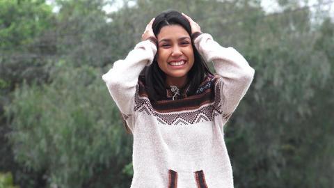 Cute Adorable Happy Hispanic Teen Footage