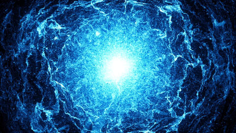 Big bang, big blue explosion in the space. Big bang, beginnings of the universe Animation