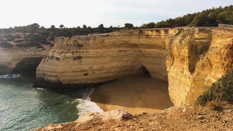 Rocky coastline near Carvoeiro Footage