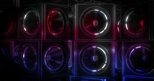 4K Music Speakers Rotating with Colour Animation
