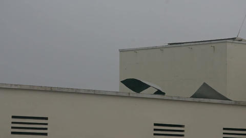 Strong Wind Spoils House Ruberoid Roofing under Hurricane Footage