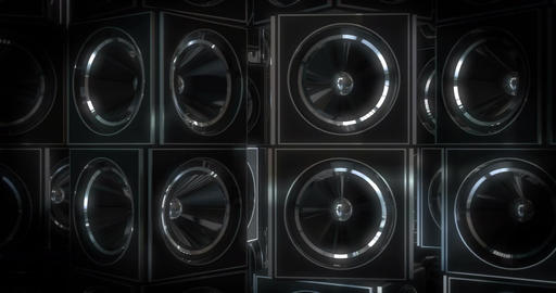 Cube Music Speakers Rotating Animation