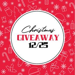 Christmas giveaway vector card on red background Vector