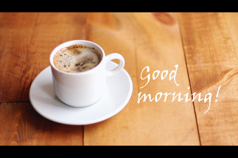 cooking hot strong coffee in white ceramic cup on wooden background. Good Footage