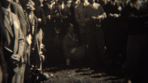 1938: Professional Golfer Gene Sarazen Hitting Shots With Crowd Surrounded stock footage
