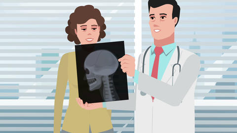 Cartoon Clinic / Doctor man with girl patient and Xray head Animation