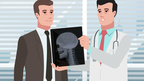 Cartoon Clinic / Doctor man with man patient and Xray head Animation