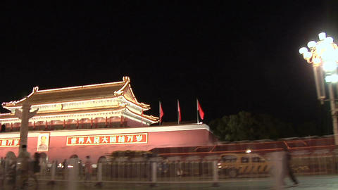 POV at Night passing the Tian'anmen Gate Live Action