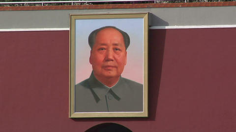 Portrait of Chairman Mao at the Tian'anmen Gate Stock Video Footage
