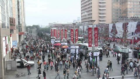 Sunday Afternoon Shoppers on Wangfujing Street Footage