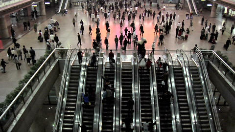 Escalators inside the Beijing West Railway Station Footage