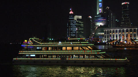 Sight Seeing Boat on the Huangpu River and the Bund (Pan to the Right) Footage