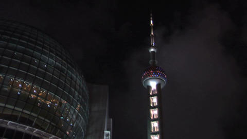 Oriental Pearl TV Tower and the Restaurant and Sky Lounge of the Oriental River  Footage